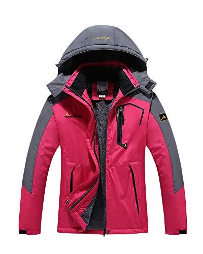 Veste Impermeable pour Homme/Femme Coupe-Vent Extérieure Grande Taille Respirant Chaud Veste À Capuche Rose F 4XL