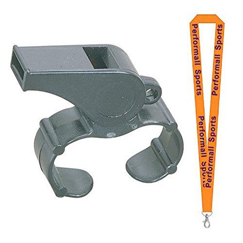 Champion Sports Plastic Whistle Bundle with Finger Grip Black (Set of 12) Bundle