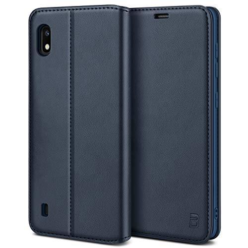 BEZ Handyhülle für Samsung Galaxy A10 Hülle, Premium Tasche Kompatibel für Samsung A10, Schutzhüllen aus Klappetui mit Kreditkartenhaltern, Ständer, Magnetverschluss, Blaue Marine