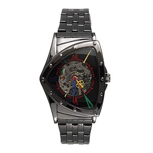 WJLED Reloj Mecánico Hueco, Reloj Triangular para Hombre, Movimiento Mecánico, Material Impermeable, Reloj De Negocios,C