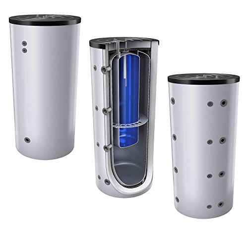 1000 Liter Schichten Kombispeicher - Tank in Tank System (Pufferspeicher mit integrierter Trinkwassereinheit), ohne Wärmetauscher, inkl. Isolierung, Magnesiumanoden und Thermometer. Warmwasserspeicher
