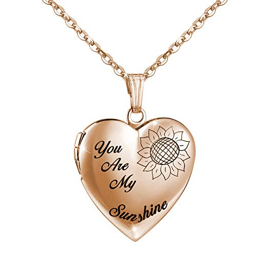 You are My Sunshine Necklace Sunflower Locket Necklace that Holds Pictures Heart Locket Pendant Gifts for Girls (Rose Gold Sunflower locket)