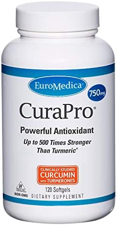 EuroMedica CuraPro 750mg 120 Softgels High Potency Turmeric Curcumin Supplement Clinically Studied product image