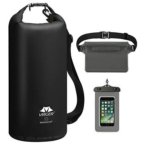 VBIGER Dry Bag wasserdichte Tasche 10L | 20L 3 In 1 Handy Beutel & Wasserdicht Bauchtasche für Herren Kajak Board Camping Boot Sport Outdoor Waterproof Bag (Schwarz, 20L)