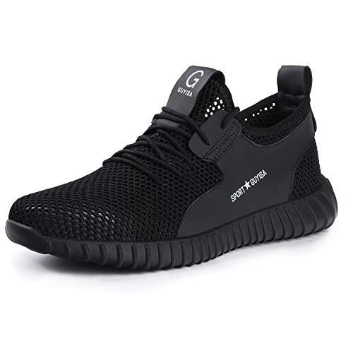 Ulogu Sicherheitsschuhe Herren Arbeitsschuhe Damen Leicht Atmungsaktiv Schutzschuhe Stahlkappe Sneaker Wanderschuhe 38 EU Schwarz#5