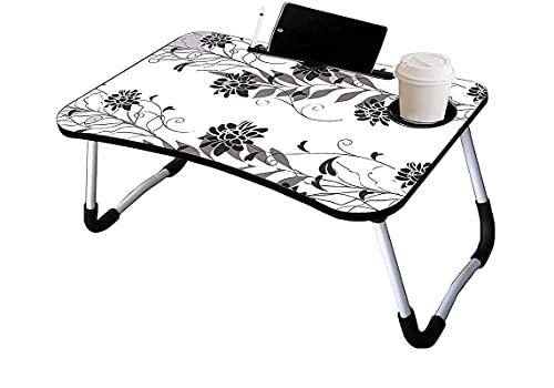 Ankul Foldable Wooden Laptop Bed Tray Table, Multifunction Lap Tablet Desk with Cup Holder, Perfect for Eating Breakfast, Reading Book, Working, Watching Movie On Bed
