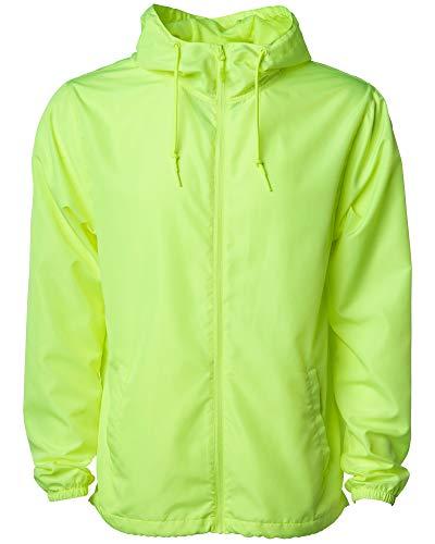Global Blank Men's Lightweight Windbreaker Winter Jacket Water Resistant Shell (Safety Yellow, XX-Large)