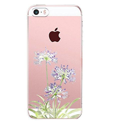 Pacyer case compatibel met iPhone SE hoes silicone ultra dun transparant iPhone 5S iPhone 5 telefoonhoes doorzichtige achterkant beschermhoes voor Apple SE / 5S / 5 cover meisje geschenk bloemen
