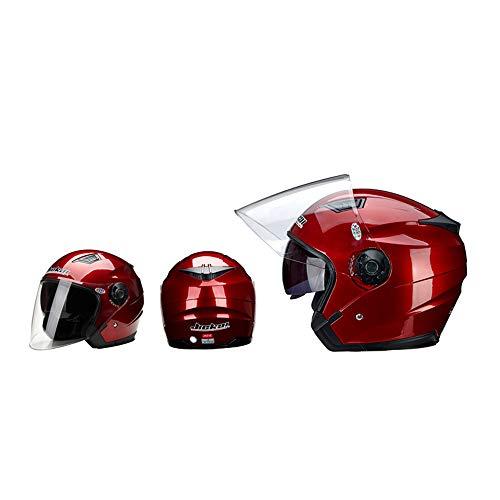 ZHXH Motorrad-Doppelobjektiv Vintage Helm Vier Jahreszeiten Rennhalb Helm Motorrad Kart Roller,05,M