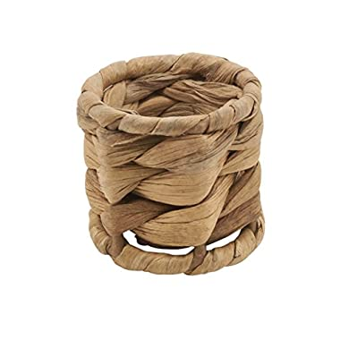 Fennco Styles Woven Sea Grass Design Napkin Ring - Set of 4 (Natural)
