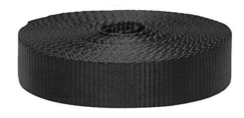 Strapworks Correa de nailon plana de colores para artes y manualidades, correas para perros, actividades al aire libre, 3,8 cm x 50 m, color negro