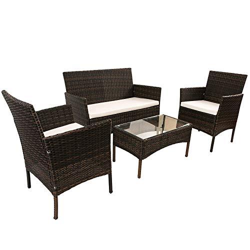 SIRUITON bruine rotan meubelset voor buiten tuin of binnen serre, 4 stuks set rotan bank stoelen, rotan tafel met gehard glas tafelblad
