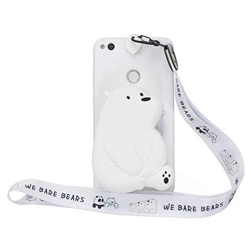 HongYong Funda de silicona para Huawei P8 Lite (2017) diseño de oso polar colorido mariposa Flip cartera cubierta para niñas niños hombres mujer