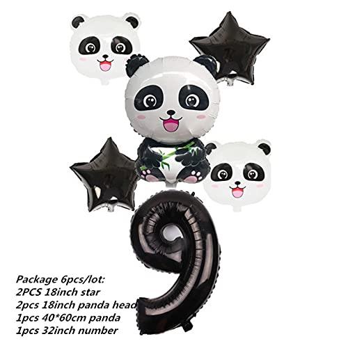 Vajilla De Fiesta Dibujos animados Panda Theme Fiesta de cumpleaños Decoraciones para niños Conjunto de vajillas Conjunto Placa Napkins Taza Baby Shower Party Supplies ( Color : 6pcs number 9 set )