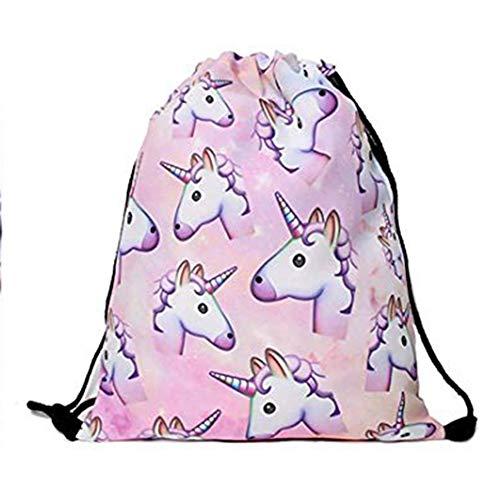 Haodou. Bolsa de Almacenamiento con cordón de poliéster con diseño de Unicornio para el Hombro, Mochila con cordón para la Escuela, Viajes, Polietileno y Deportes (Rosa)