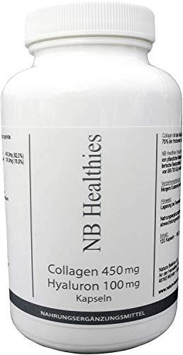 Kollagen + Hyaluron 120 Kapseln je 450mg Collagen + 100mg Hyaluronsäure Anti Aging Falten