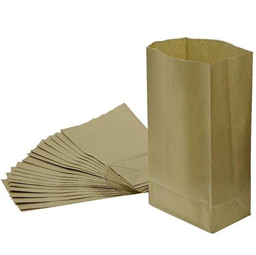 'kingken, 20Stück, einfach mit Tasche, faltbar, Lunch-Bag Packpapier mit (braun), mit Tasche
