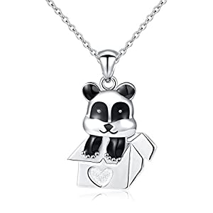 """ATHENAA S925 Sterling Silver Jewelry Panda in a box Pendant Necklace,Rolo Chain,18"""""""