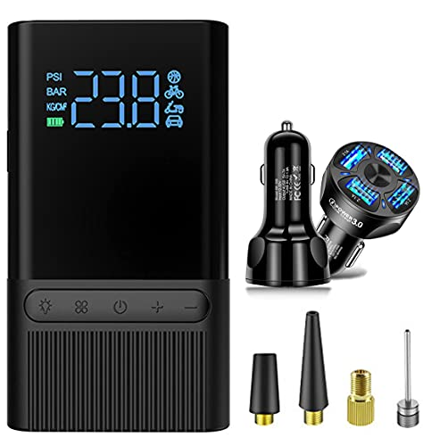 Inflador inalámbrico del compresor de aire del neumático y cargador del coche QC3.0 USB