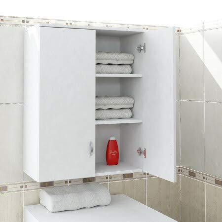 Alphamoebel 4142 Zoe Badschrank Hängeschrank Schrank für Badezimmer, Holz, Weiß, 2 Schranktüren, 3 Regalböden, 70 x 90 x 34,5 cm