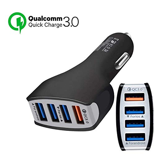 4 Ports Car Charger Quick Charge 3.0 USB Fast Adapter car Charger,QC 3.0 Fast Charging Adapter Multi Protection for Smartphones Samsung Sony,iPhone iPad and More
