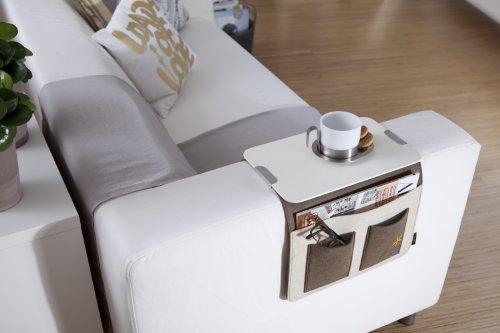 Sofa Butler Carry mit 4 Taschen und Ablageplatte hellgrau/dunkelgrau