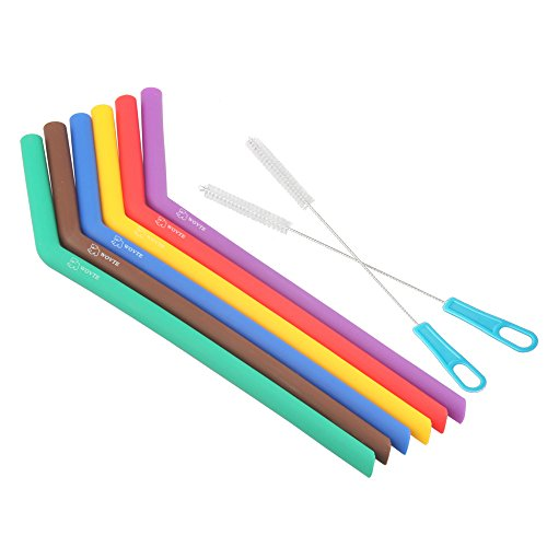 WOVTE 6-Pack BPA Free Reusable Silicone Straws with 2 Cleaning Brushes for 20oz 30oz YETI RTIC Tumblers and Smoothies Milkshakes