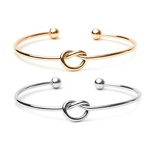 BODYA Paare 2 Liebe Knoten einfache Knoten Armreif Manschetten für Frauen Stretch öffnen Manschette Armband Gold und Silber Rose Gold Knoten Armreifen