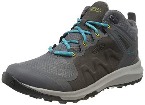 Keen Explore Mid, Imperméable, Zapatos de High Rise Senderismo Mujer, Negro (Steel Grey/Bright Turquoise 003), 37 EU
