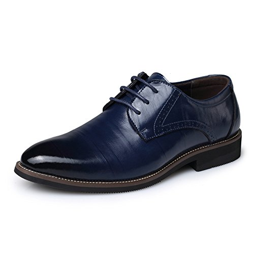 AARDIMI Herren Schnürhalbschuhe Hochzeit Schuhe Männer Spitz Oxfords Mann Kleid Leder Schuhe Formale Zapatos Hombre(Hersteller-Größentabelle im Bild Beachten) (42, Blau)
