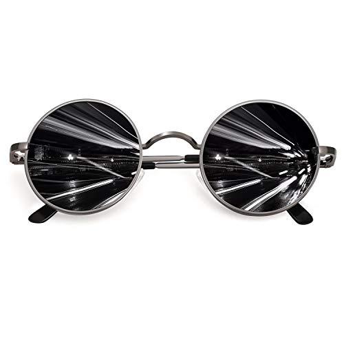 CGID Retro Vintage Sonnenbrille, inspiriert von John Lennon, polarisiert mit rundem Metallrahmen, für Frauen und Männer Braun Grau E01