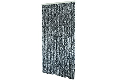 Kynast Garden Flauschvorhang 90 x 200 cm Chenille Türvorhang grau-schwarz