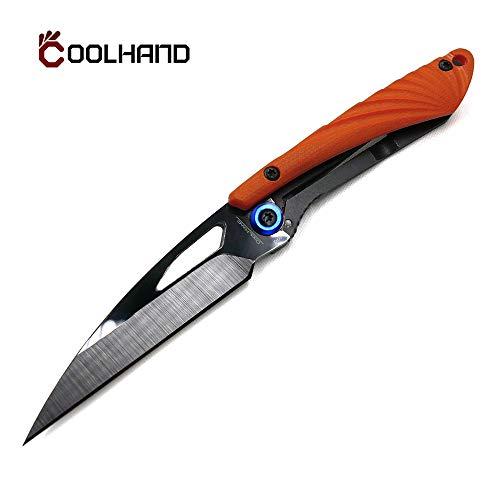 Cool Hand 3'' Super Light Folding Pocket Knife, Liner Lock, 2'' Black Ceramic or Damascus Blade with G10 or Carbon Fiber Scale (Polished Black Ceramic Blade with Orange G10 Handle)