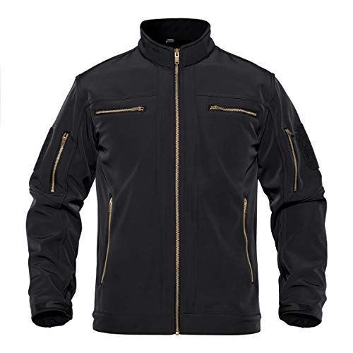 TACVASEN Men's Stand Collar Water Resistant Softshell Jacket Coat 6 Zipper Pockets Black, L