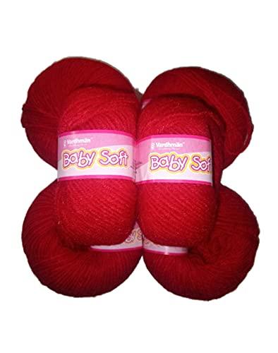Vardhman Original 4ply Acrylic Knitting Wool/Yarn Red (Pack of 6) Baby Soft Wool Hand Knitting Balls for Art Craft, Sweater, Socks, Gloves, Caps, Super Soft Needle Knitting Yarn Thread (red)