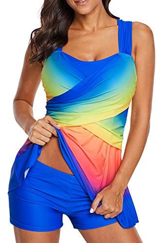 Womens Beachwear Tummy Control Crisscross Strappy Swimsuits Two Pieces Swimdress Rainbow Multicolor Ombre Sexy Tankinis Sets Dark Blue XXXL