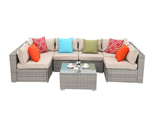 Do4U 7 Pieces Outdoor Patio Furniture Sectional Conversation Set, All-Weather Wicker Rattan Sofa Beige Seat & Back Cushions