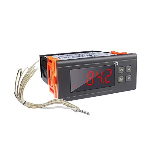 KT8230 Digital Temperature Controller Thermostat Regulator 120VAC 30A Fahrenheit -22~572℉ Heating Cooling for Incubator Brooder Refrigerator Fermenter Greenhouse Reptile