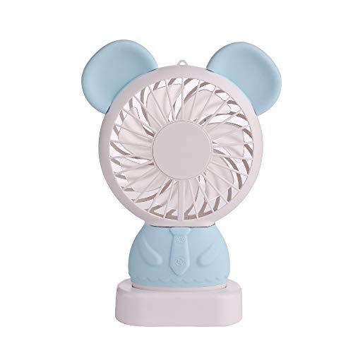 Handventilator, nachtlampje, draagbaar, mini-hand-ventilator, leuk cartoon-design, USB-oplaadventilator voor kinderen, meisjes, dames, kantoor in de openlucht JZBB 5 (Color : Blue)