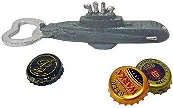 Design Toscano Nautilus abridor de garrafa de ferro fundido submarino, Unitário, Single, 1