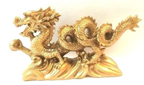 Monkey King TM NEW GOLD Chinese Feng Shui Dragon Figurine Statue for Luck & Success 6 inch LONG MK9903