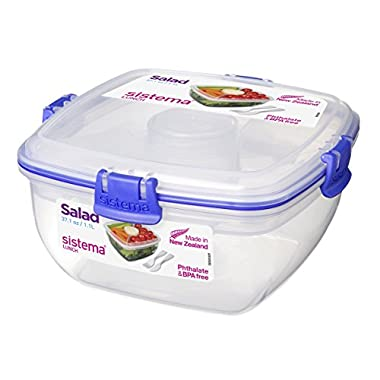Sistema Lunch Collection Salad Food Storage Container, 37 oz./1 L, Clear/Blue