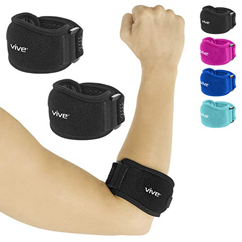 Vive Tennis Elbow Brace (Pair) - Rheumatoid Arthritis Strap For Bursitis, Golfers, Lateral & Medial Epicondylitis, Tendinitis - Padded Compression Arm Support Band - Adjustable Forearm Pain Relief