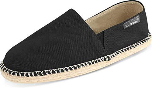 normani Sommerschuhe für Damen   Espadrille mit praktischem Baumwollbeutel Farbe Black Größe 45