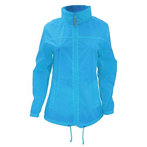 B&C Damen Womens Full Zip Siroco Regenmantel, Blau (Atoll 000), 38 (Herstellergröße: Medium)