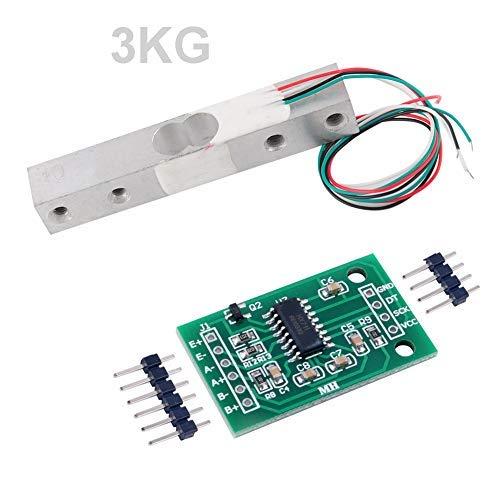 Wägezelle 3 KG Verstärker HX711 Breakout, digitale tragbare Küchenwaage Gewichtssensor AD-Modul Wiegen für Arduino Raspberry Pi