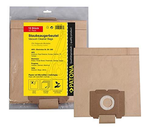 10x Bolsas de aspiradora papel Dimensión 28 para AEG Compac