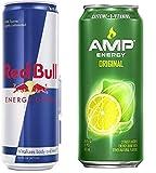 Amp Energy Drink Original and Red Bull Energy Drink Original Combo Pack, 16fl.oz. (Pack of 8)