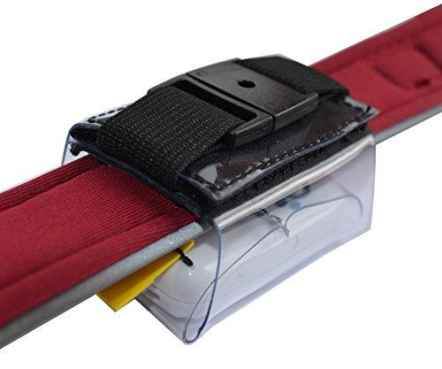 Tracker-Tasche für Halsbandbreite bis 40mm, hochwertiger PVC, mit Klettverschluss, Zusatzsicherung, Adressfach, Hinweislabel Phone Inside!, für GPS Tracker 51x41x15mm