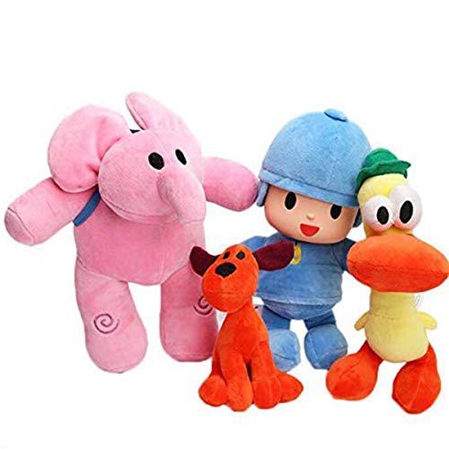 Set de 4 muñecos de Peluche Pocoyo Elly Pato Loula muñecos de Animales Blandos Regalos para niños